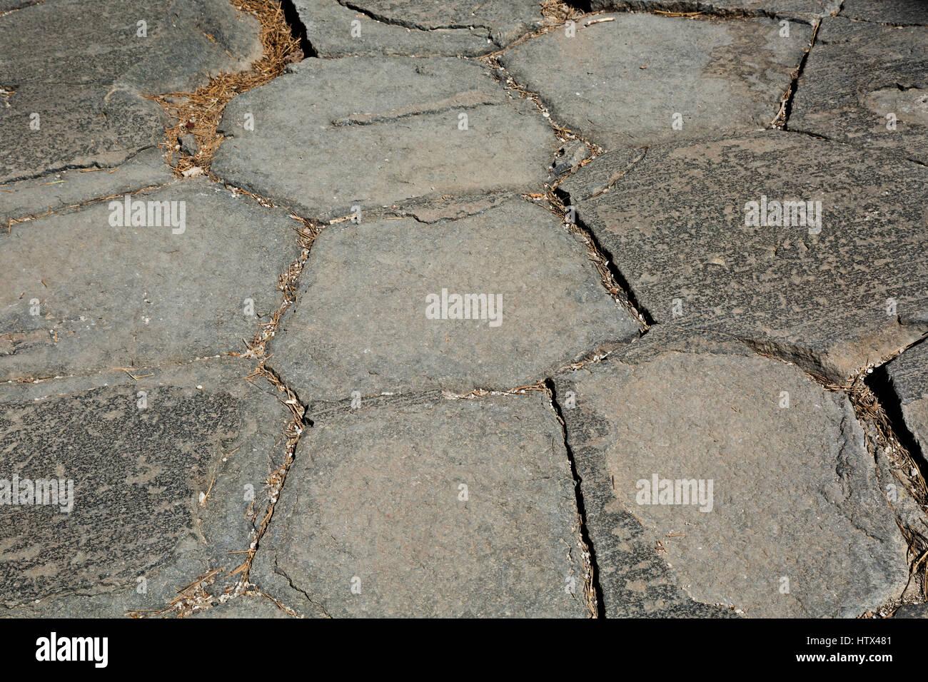 CA03044-00...CALIFORNIA - Glacier polished hexagonal heads of columnar basalt in Devils Postpile National Monument. - Stock Image