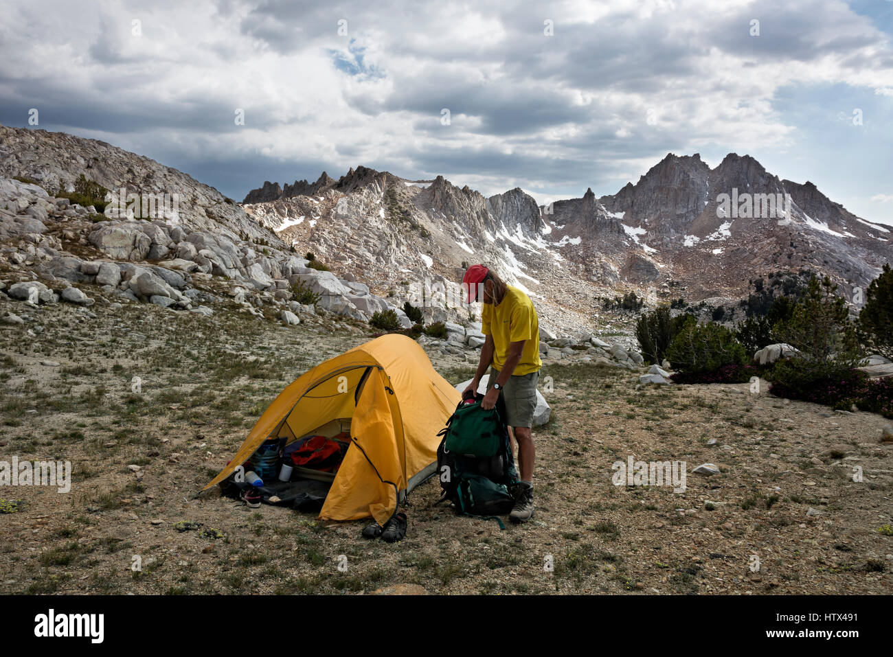 CA03061-00...CALIFORNIA - Campsite below Silver Pass along the JMT/PCT in the John Muir Wilderness area. - Stock Image