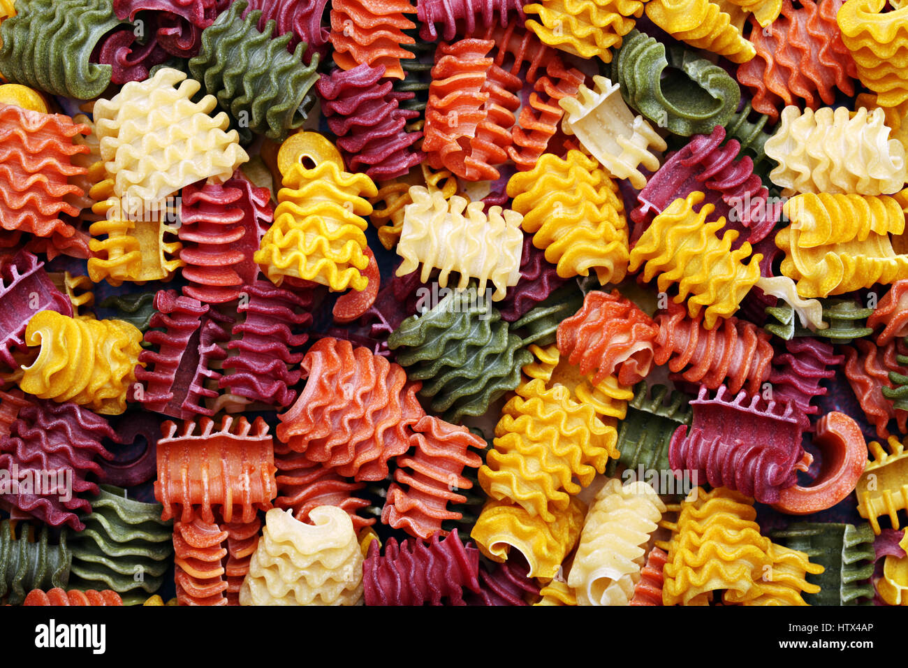 Background image of homemade traditional pasta texture. - Stock Image