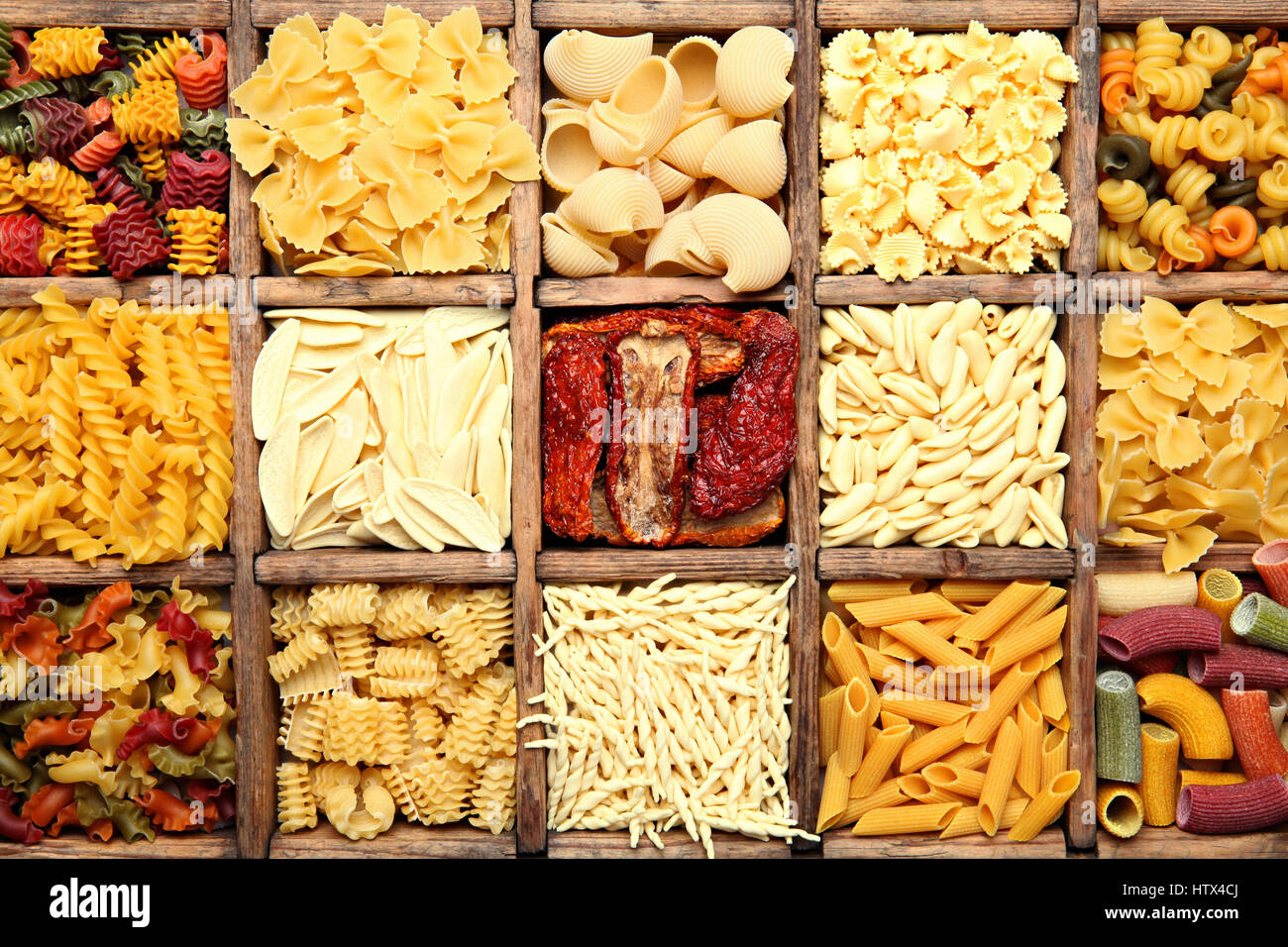 Background image of traditional italian colorful homemade pasta - Stock Image