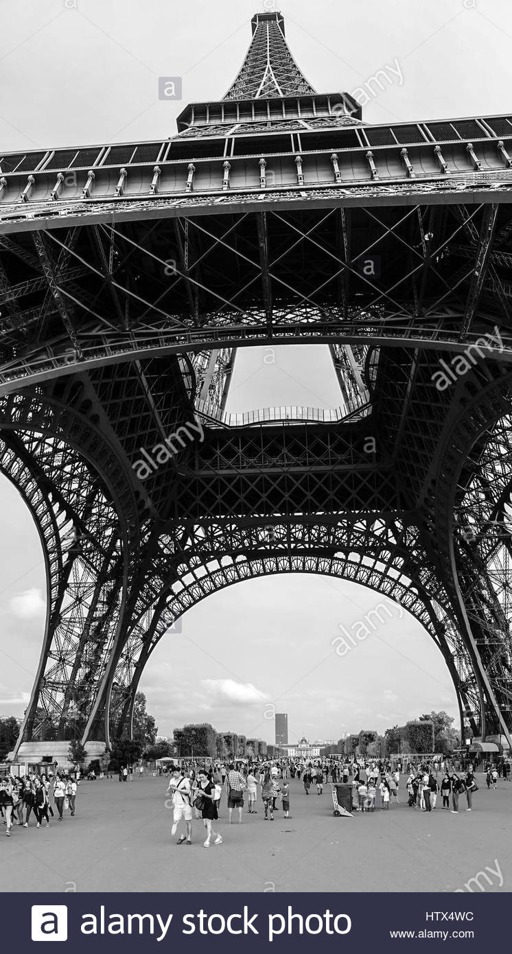 From below the Eiffel Tower - Stock Image