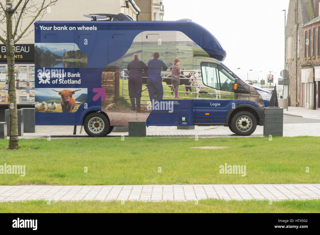 RBS Royal Bank of Scotland mobile van - Stock Image