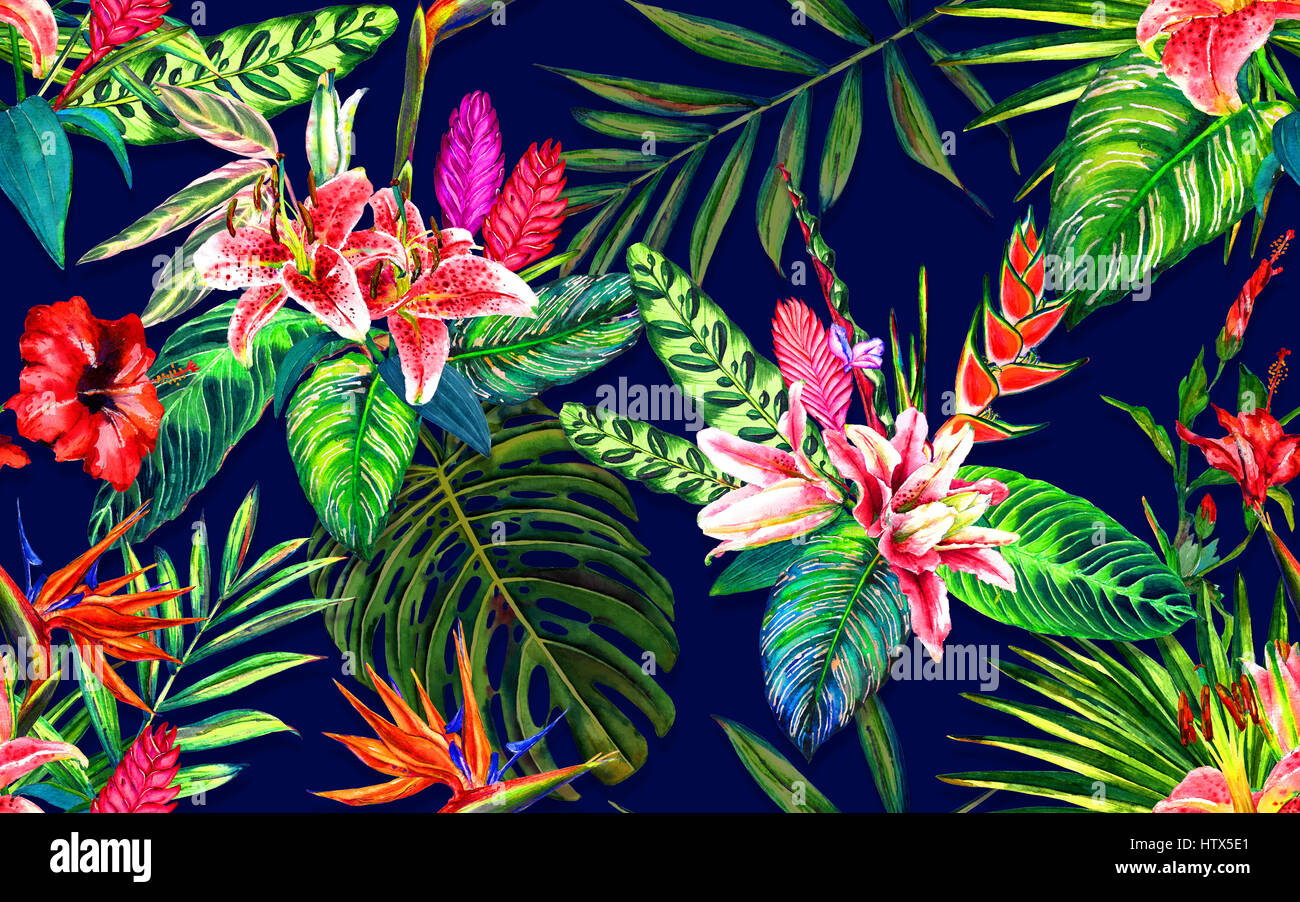 Seamless Tropical Floral Pattern Hand Painted Watercolor Exotic