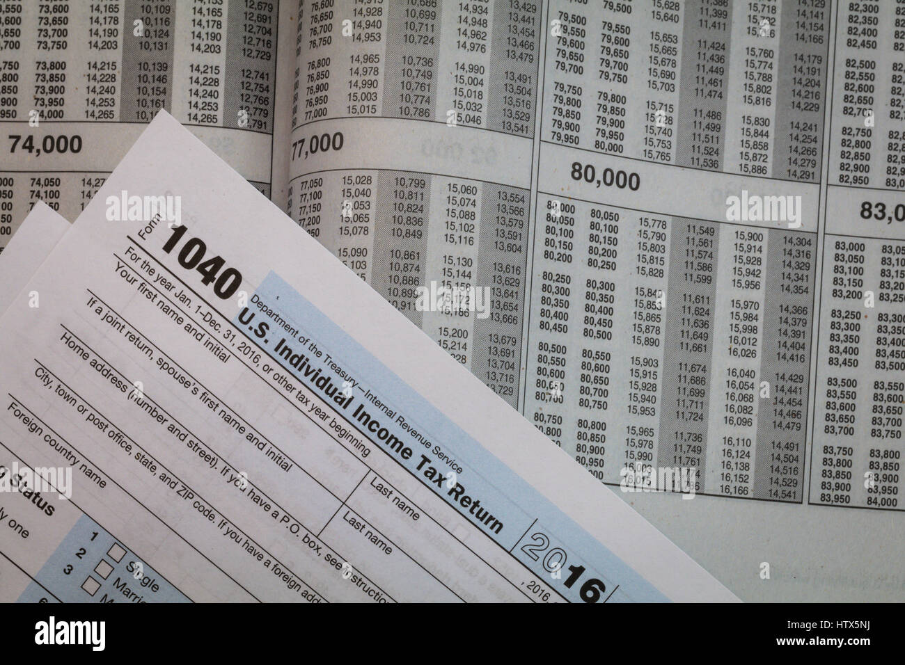Tax Preparation Forms And Tax Booklet Us 1040 Tax Form Stock Photo