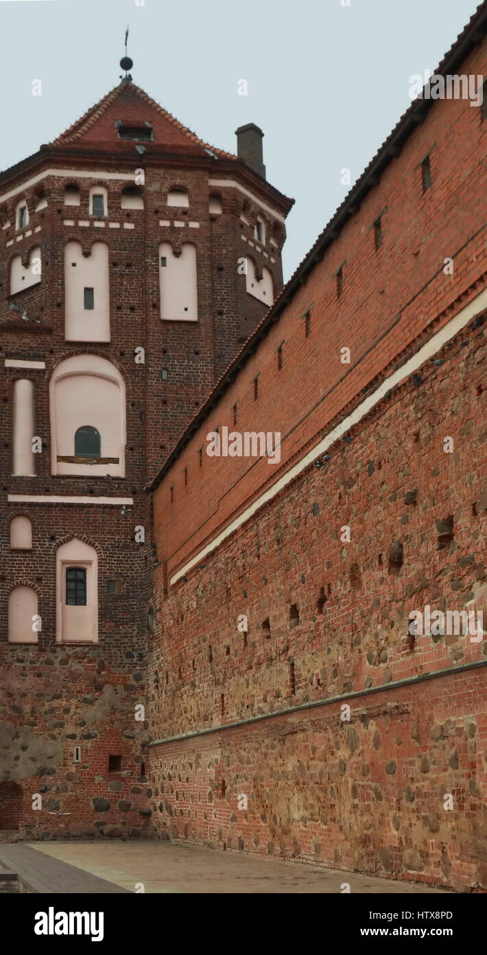 Ancient castle in Belarus in the city of MIR - Stock Image