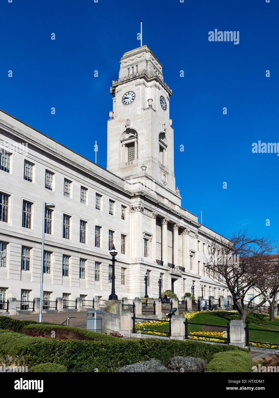 The Town Hall from Barnsley Pals Centenary Square in Barnsley South Yorkshire England - Stock Image