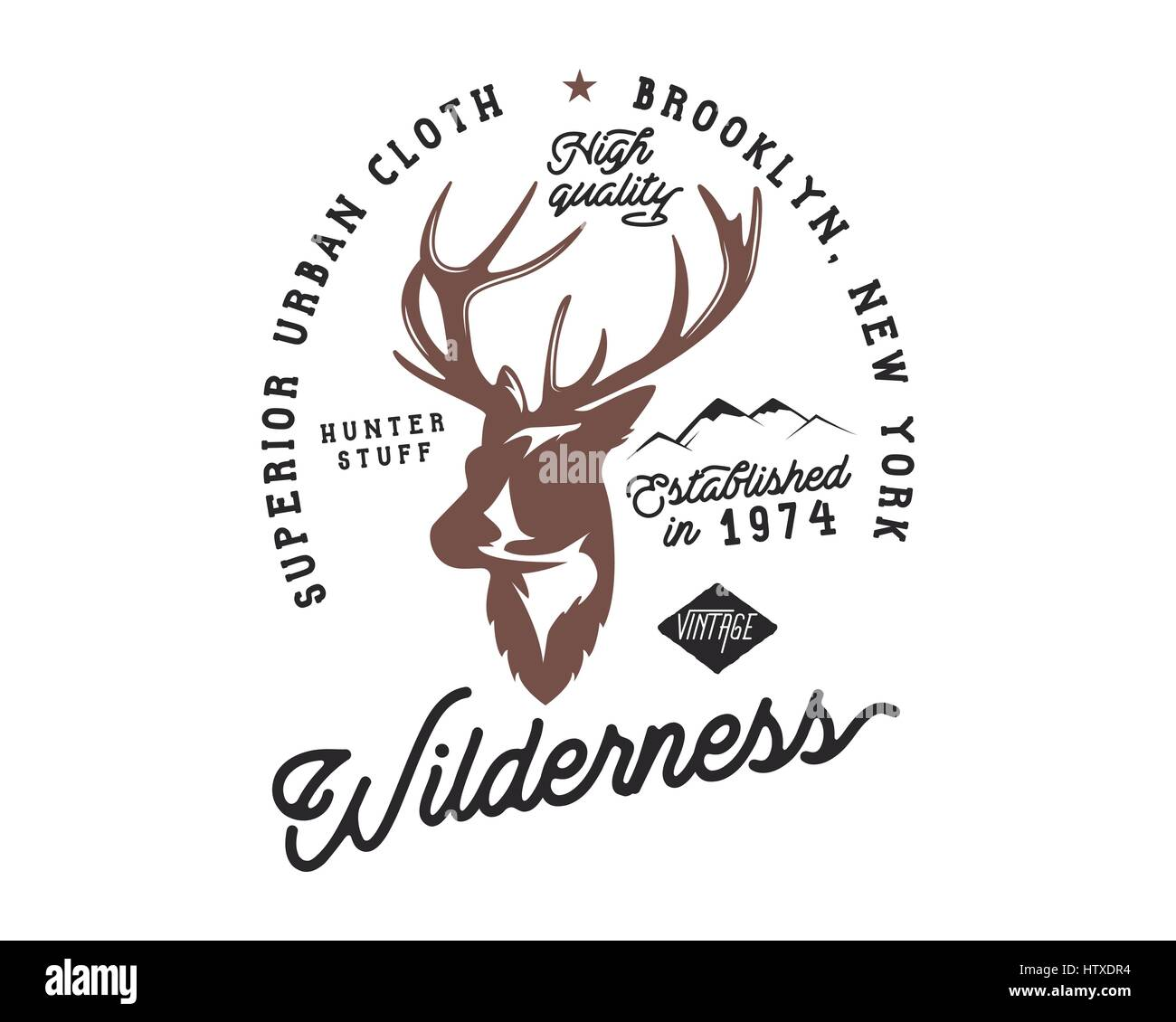Hand Drawn Vintage Camping Badge And Hiking Label With Design Elements Typography Included Deer Head Mountains Quote Text Wilderness