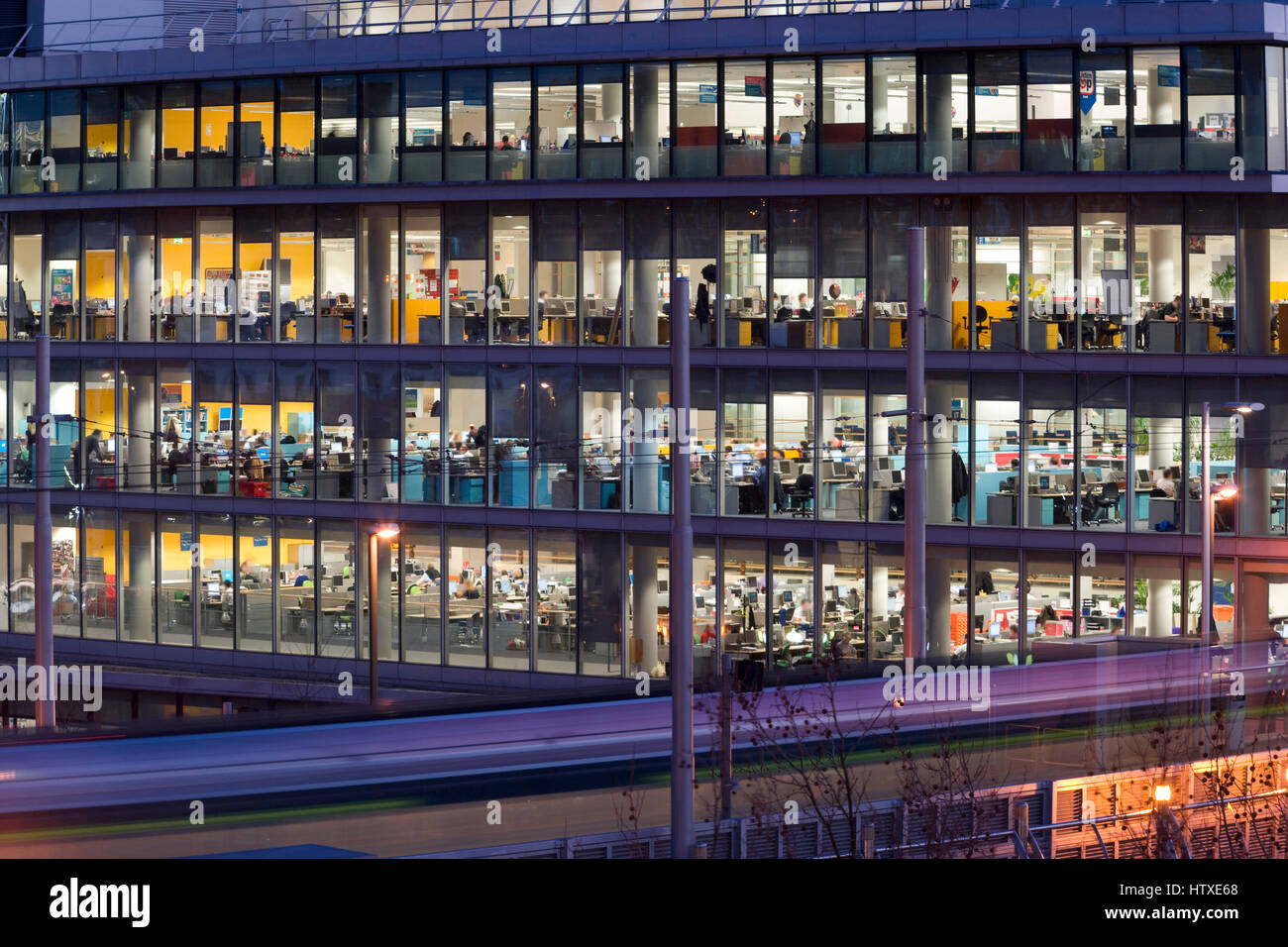 Commercial Offices at dusk, Nottingham, Nottinghamshire, England, UK. - Stock Image