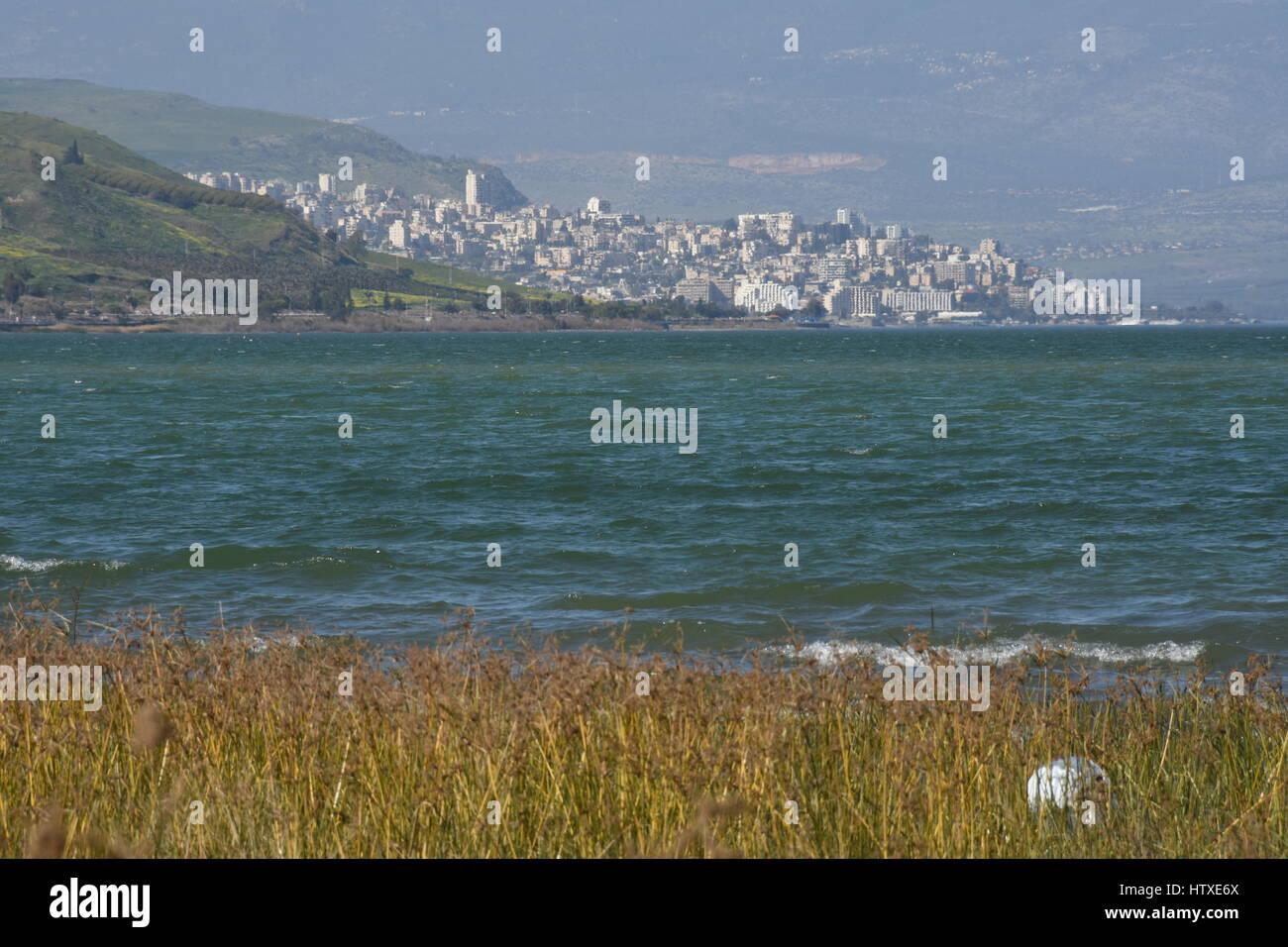 The sea of Galilee and Tiberias - Stock Image
