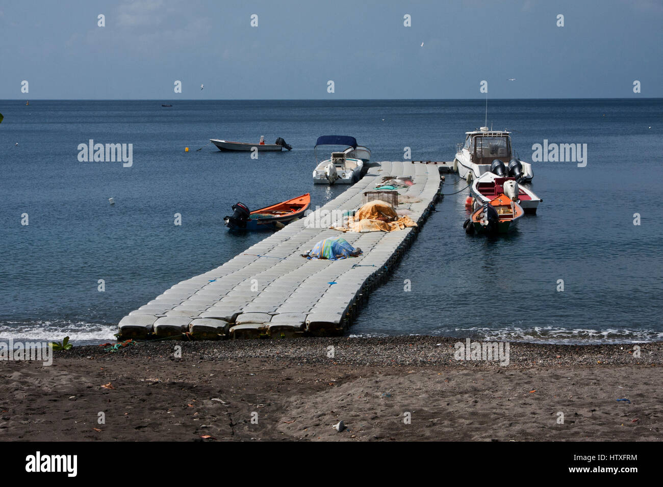 Martinique, Martinique, Le Carbet, beach town and fishing port, east coast near St Pierre, - Stock Image