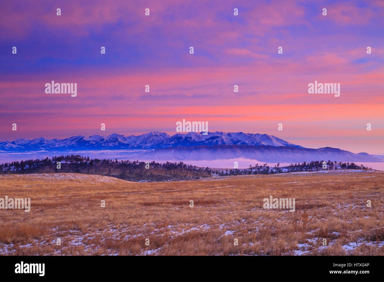 morning sky over the crazy mountains and sheep mountain near livingston, montana - Stock Image