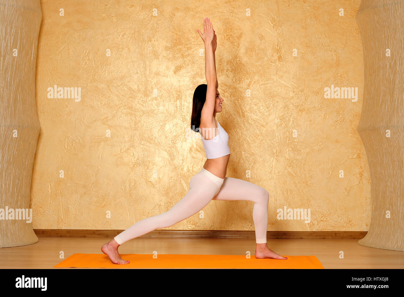 action, activity, balance, beauty, body, care, concentration, concepts, contemplation, exercise, female, flexibility, - Stock Image