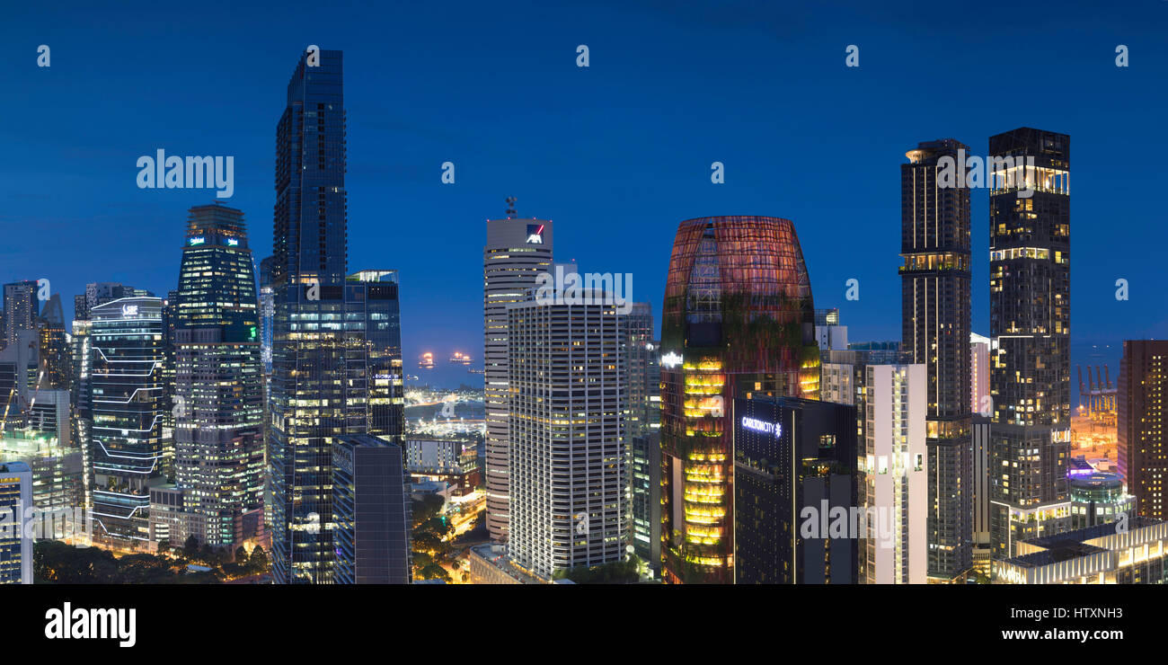 View of skyscrapers in CBD, Singapore - Stock Image