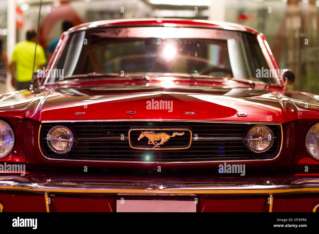 1965 ford mustang fastback red front view exhibition of classic and antique cars