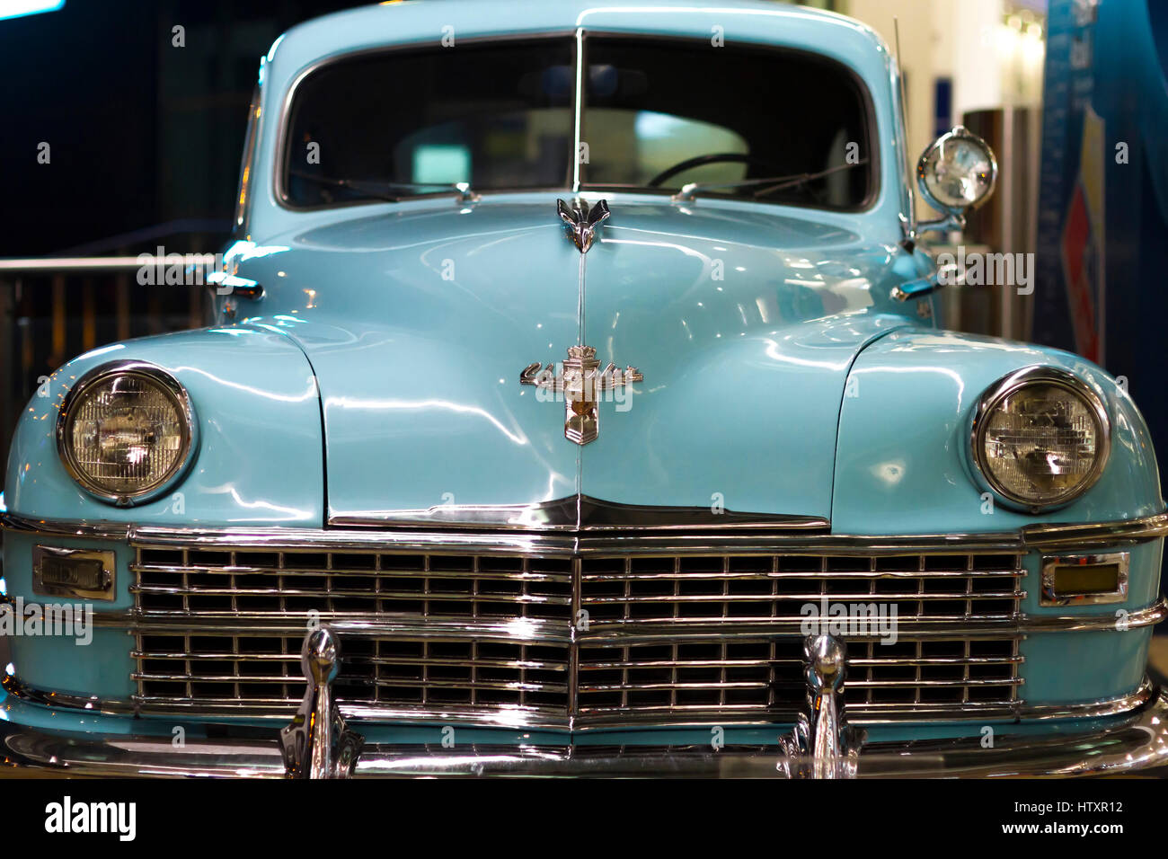 Antique car, 1948 Chrysler Windsor blue. Front View. Exhibition of ...