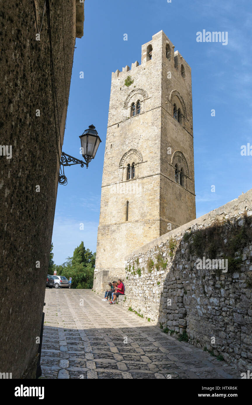 Cathedral church, Chiesa Madre, Erice, Sicily, Italy - Stock Image