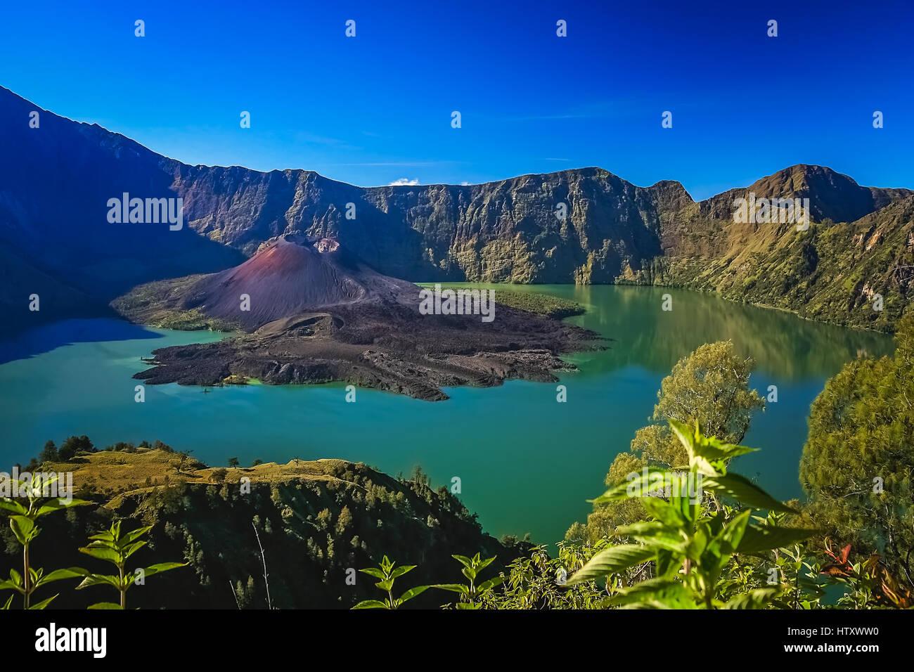 Crater of Gunung Rinjani volcano on the Lombok island, Indonesia - Stock Image