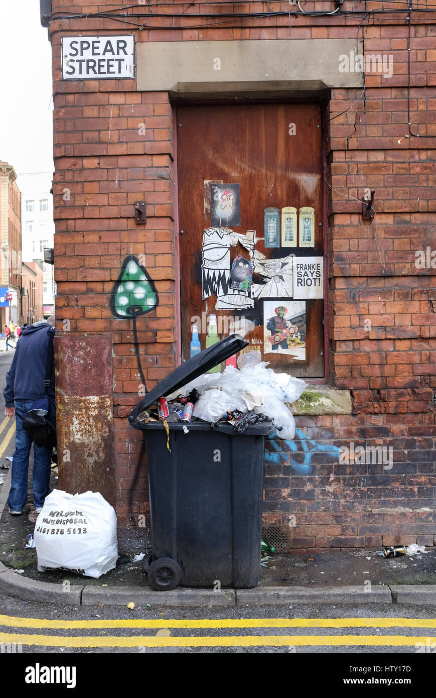 Rubbish piles up in Spear Street in Manchester city centre - Stock Image