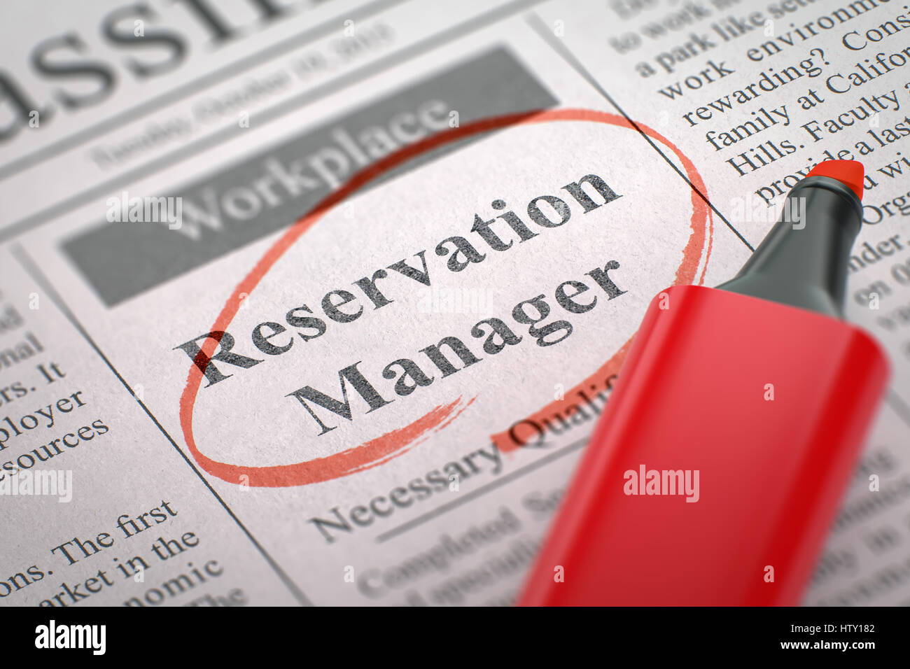 Now Hiring Reservation Manager. 3d. - Stock Image