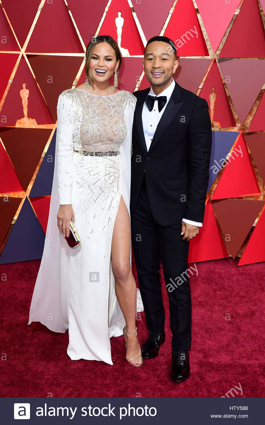 File photo dated 27/02/2017 of John Legend and Chrissy Teigen as the singer has told how he helped his wife through - Stock Image