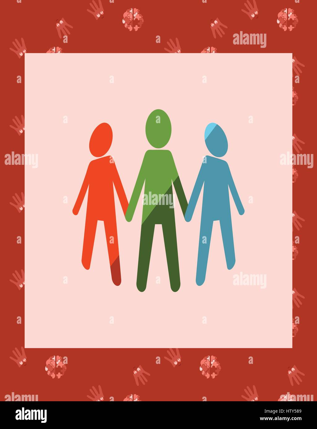 Vector of greeting card with autism unity symbol - Stock Image