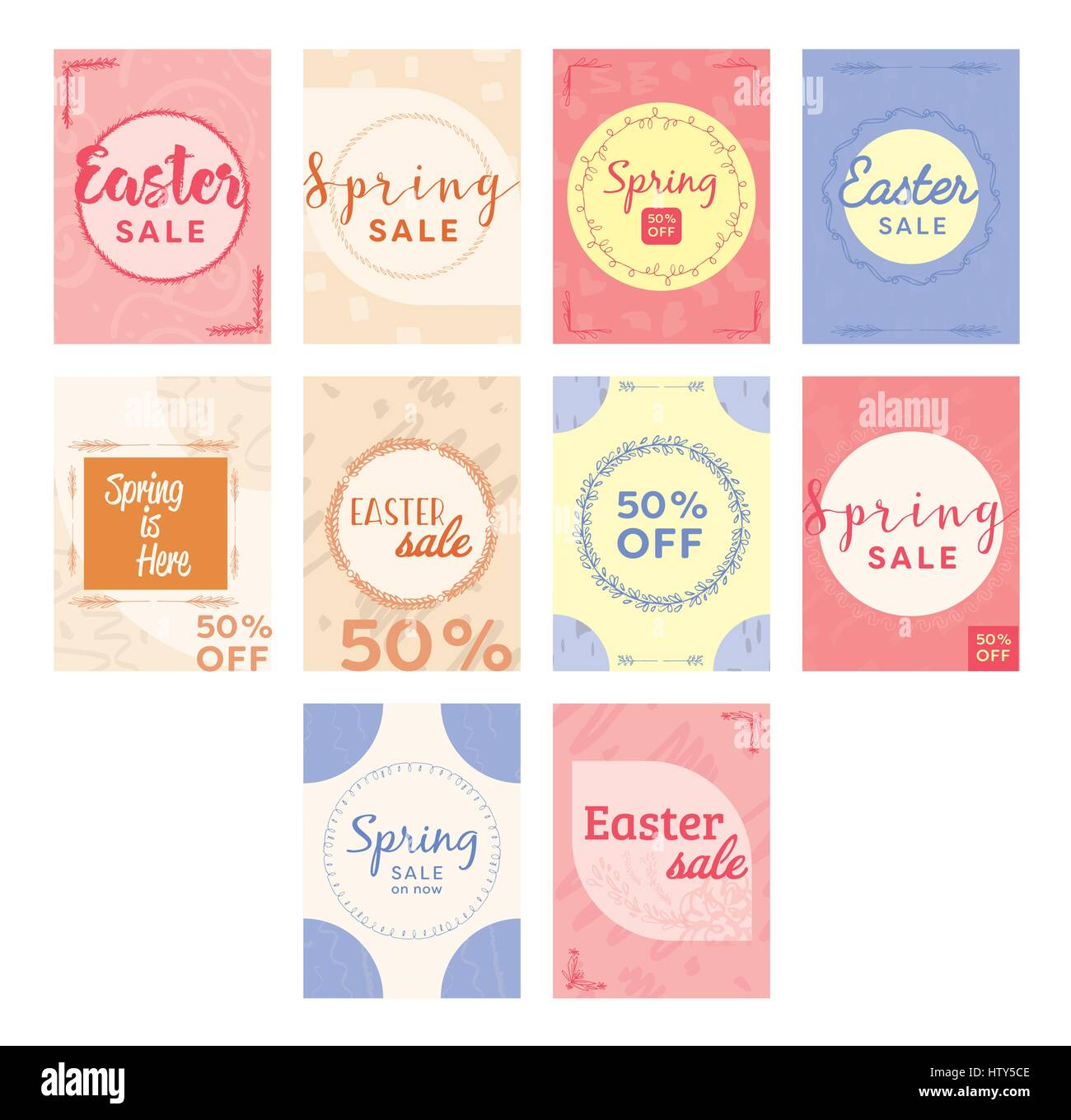 Vector icon set of greeting cards with easter and spring messages vector icon set of greeting cards with easter and spring messages against white background m4hsunfo