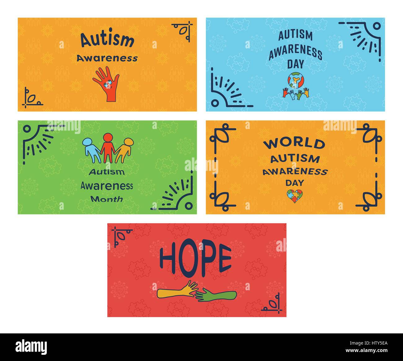 Vector icon set of greeting cards with autism awareness message vector icon set of greeting cards with autism awareness message against white background m4hsunfo