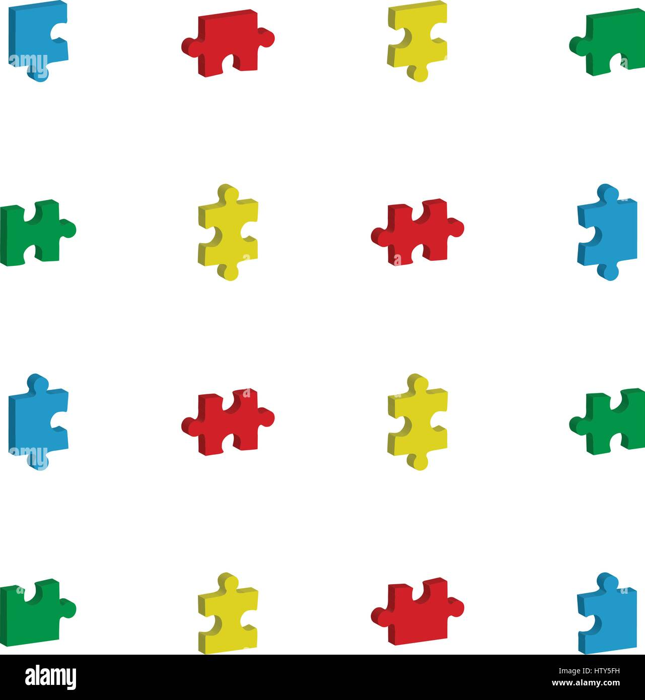 Vector icon set for jigsaw puzzle against white background Stock Vector