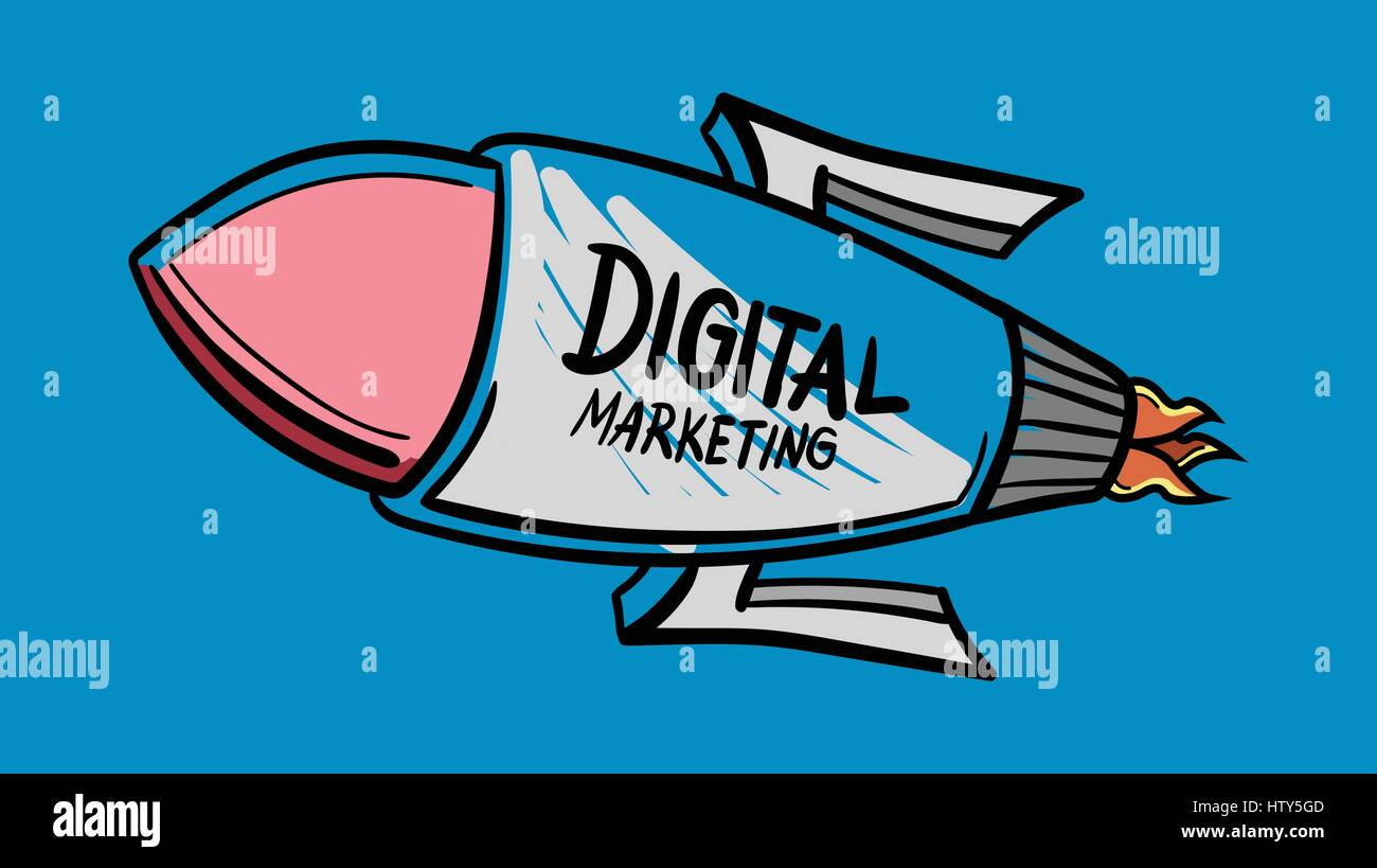 Vector icon of rocket with digital marketing in text against blue background - Stock Image
