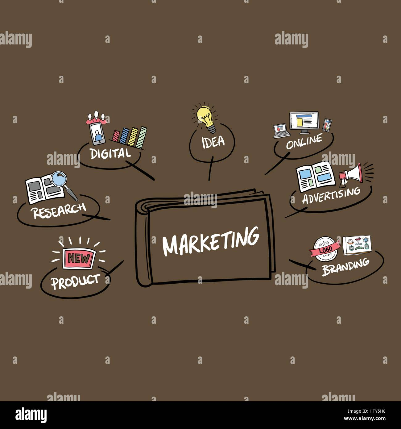 Vector icon of marketing concepts against brown background - Stock Image