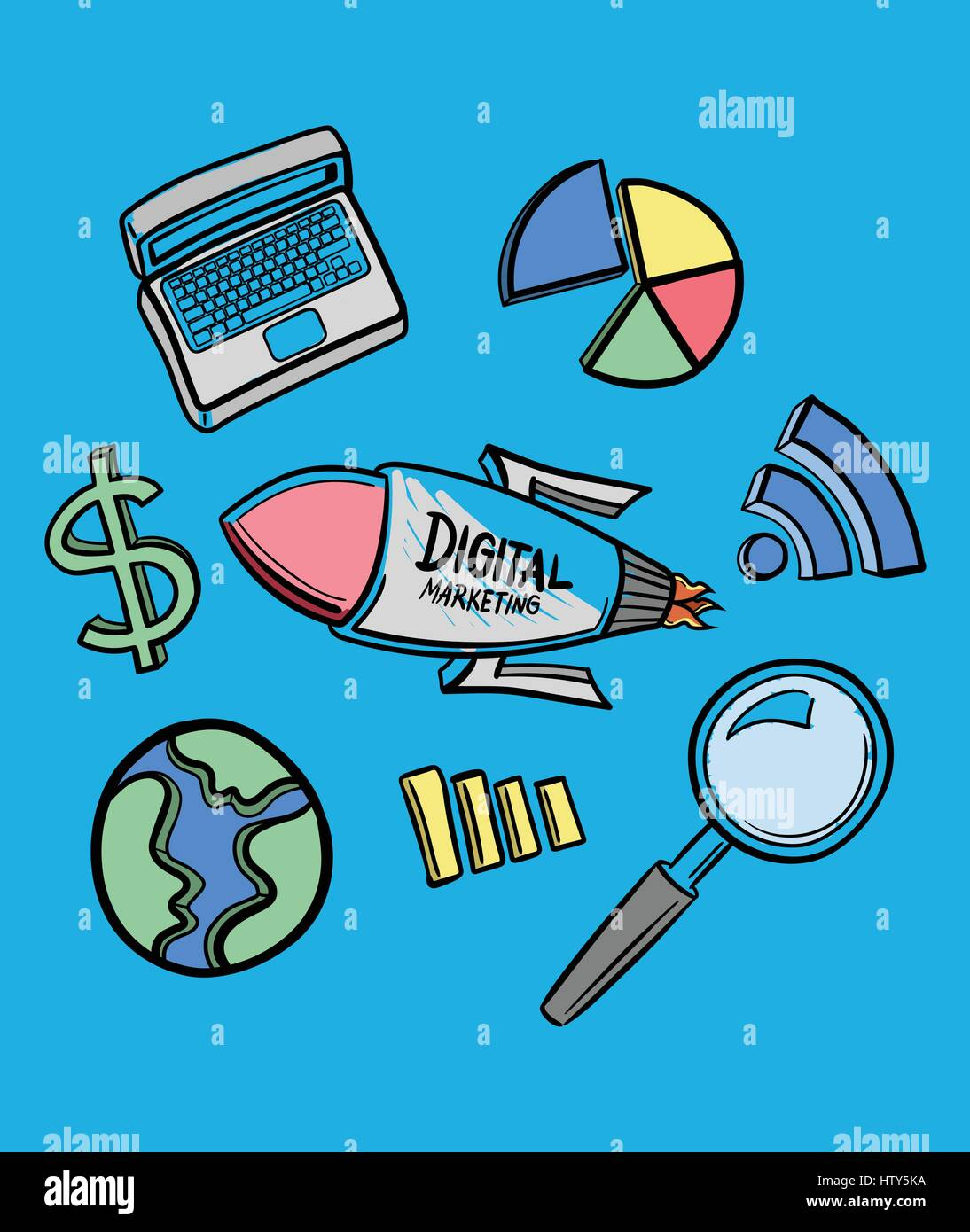 Vector icon of digital marketing against blue background - Stock Image