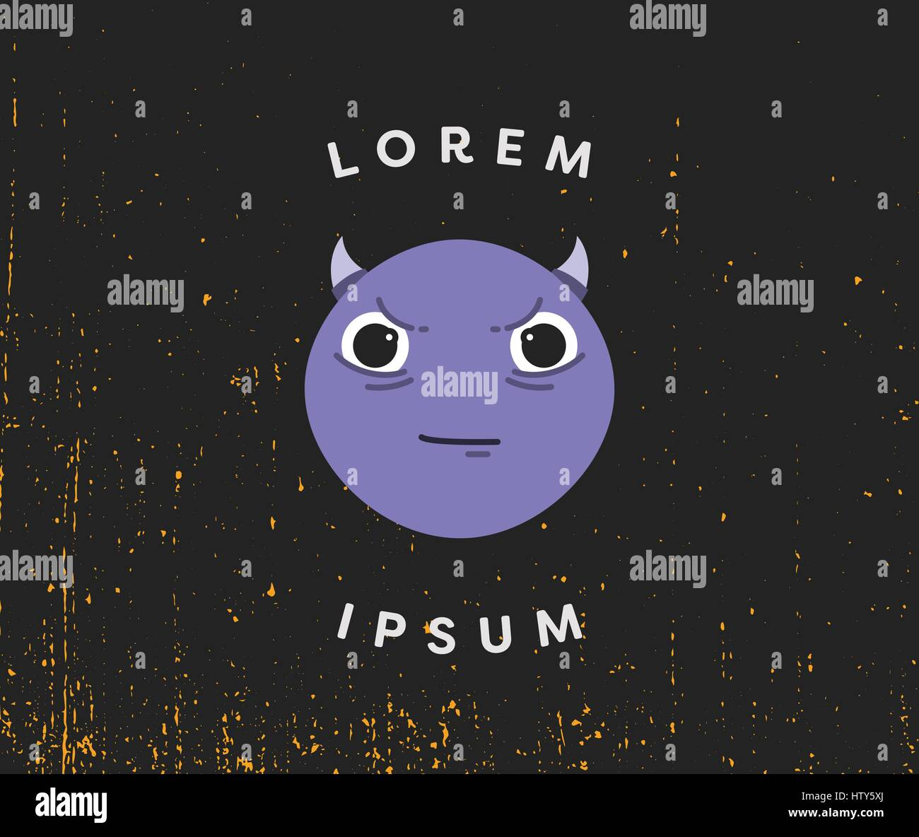 Vector of card with devil emoji and text lorem ipsum - Stock Image