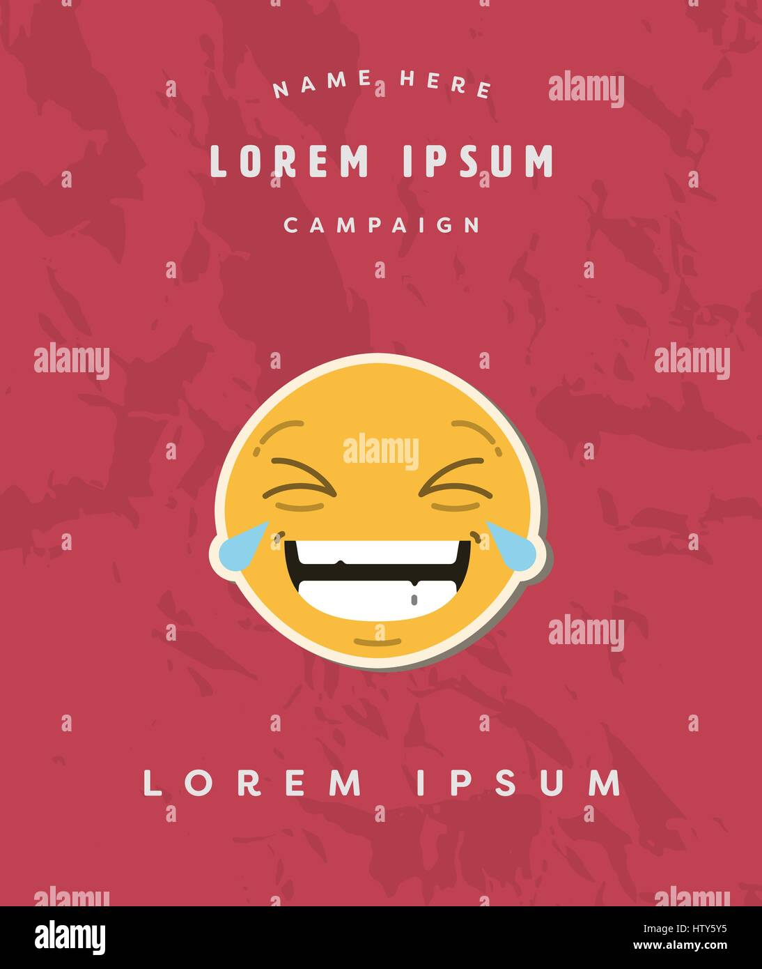 Vector of card with laughing emoji and text lorem ipsum - Stock Image
