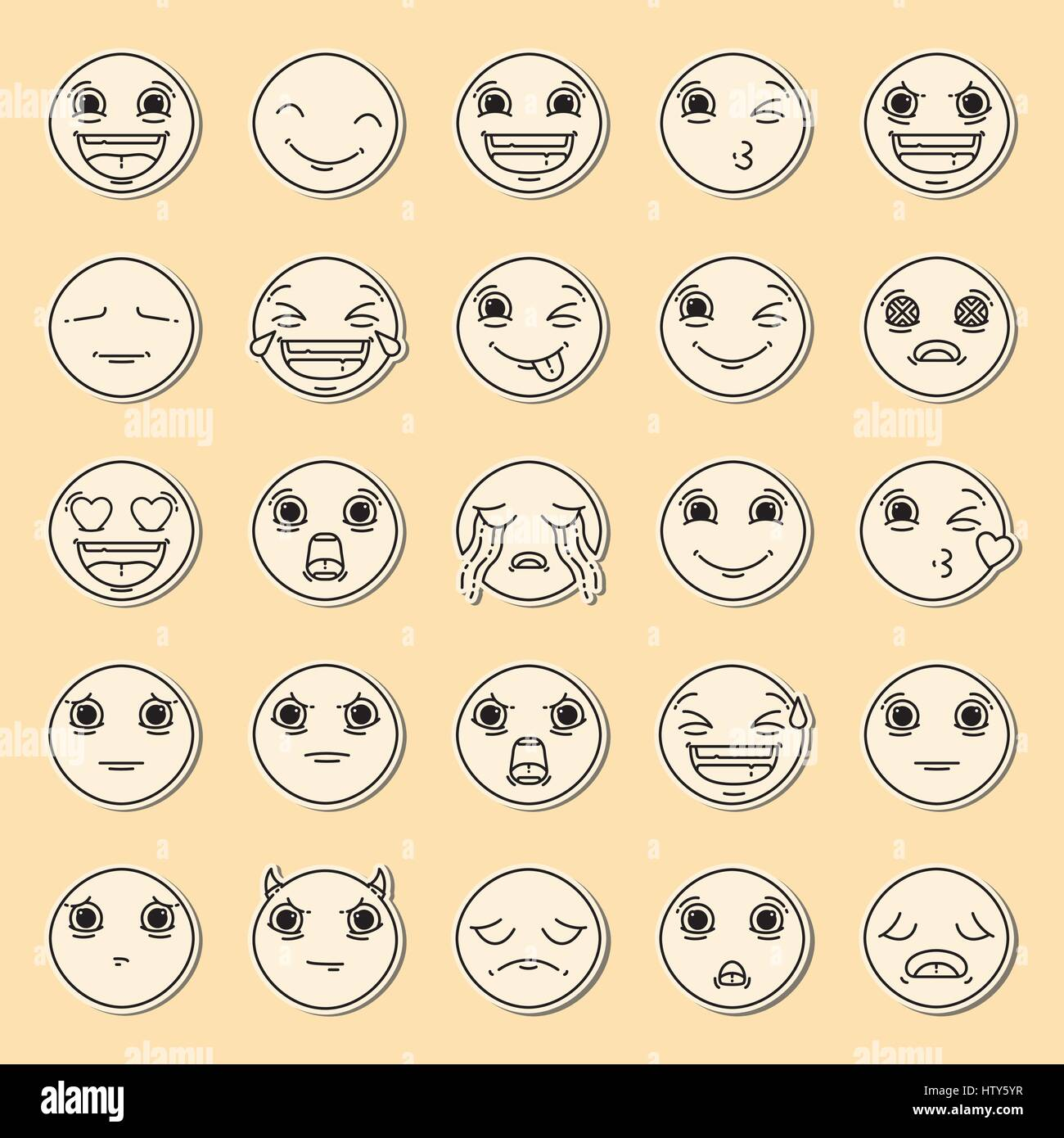 Vector icon set of emoticons against yellow background - Stock Image