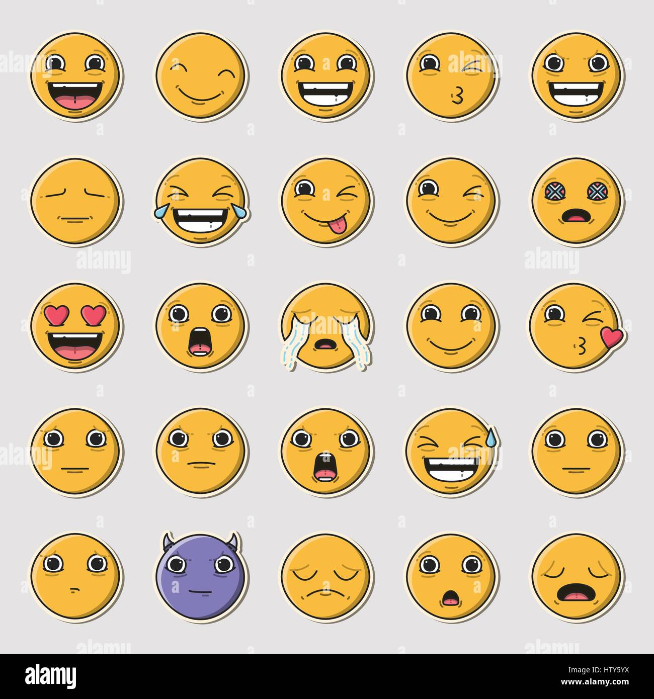Vector icon set of emoticons against white background - Stock Image