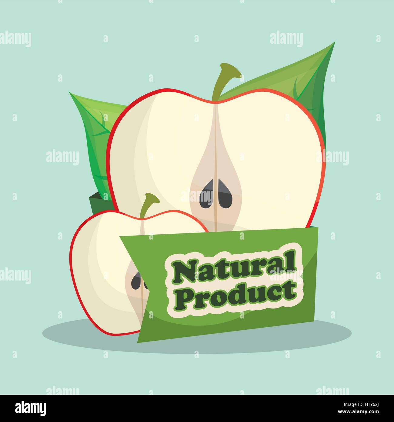 apple natural product market design - Stock Vector