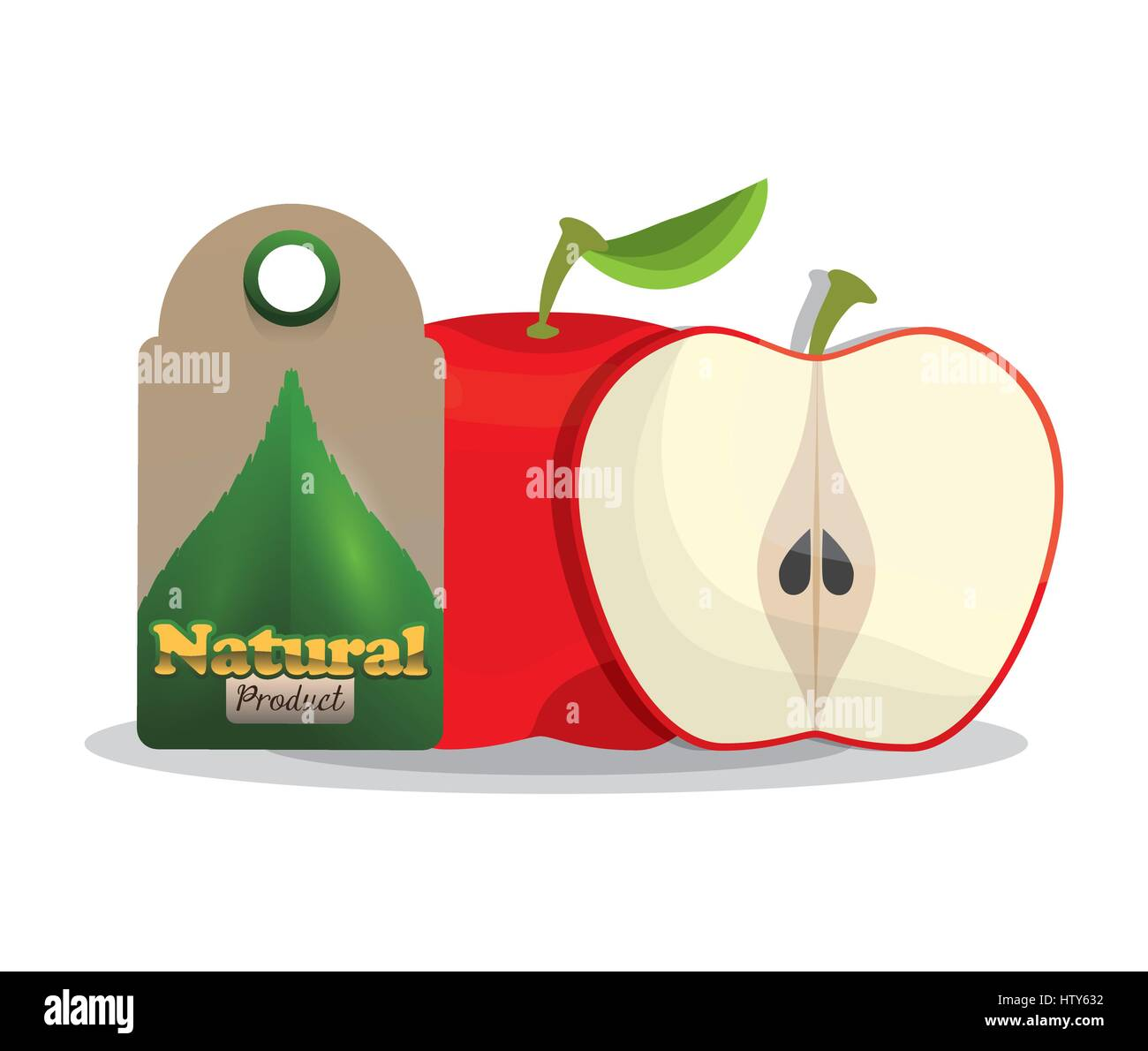 apple natural product tag market - Stock Vector