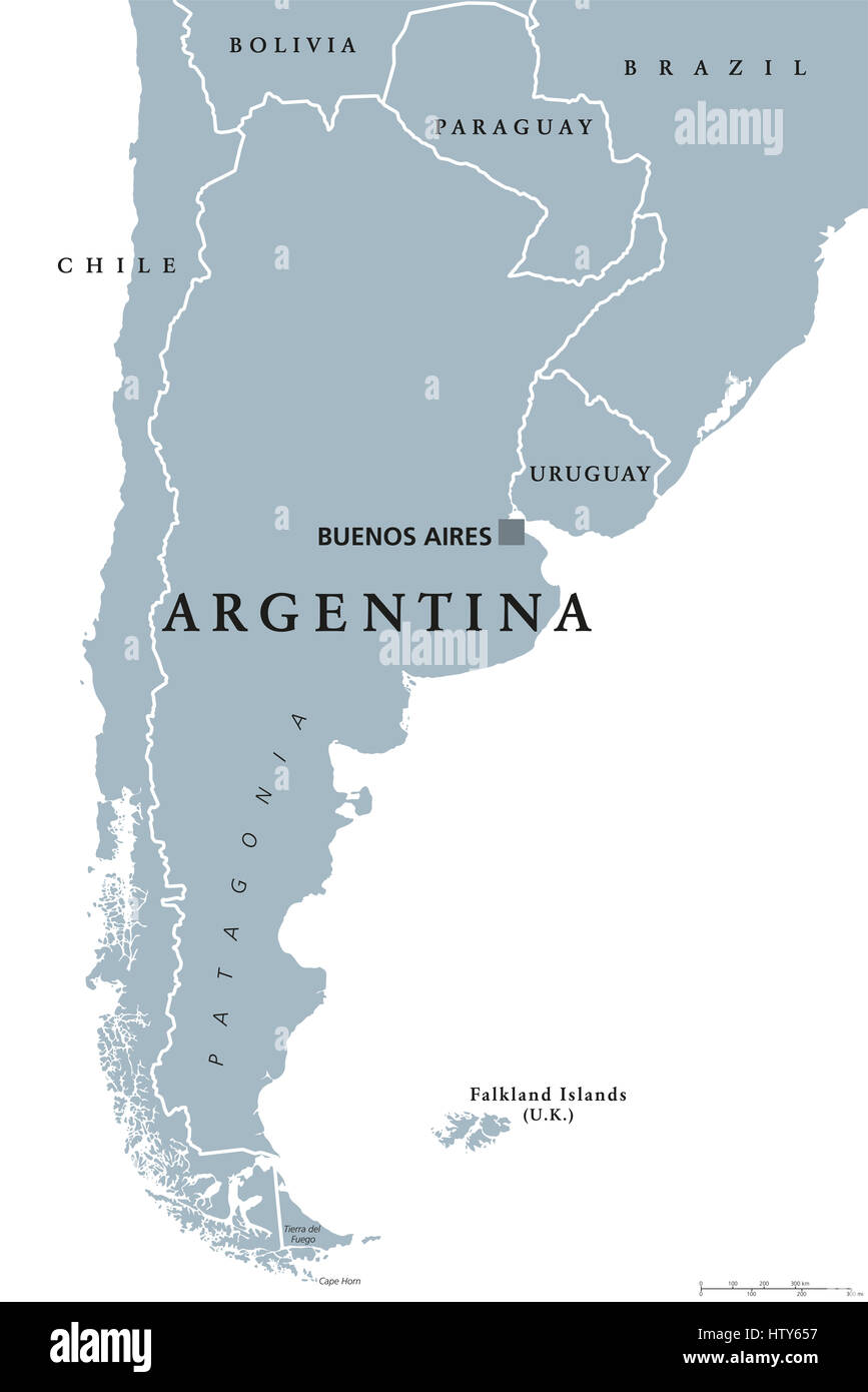 Argentina political map with capital Buenos Aires, national borders ...