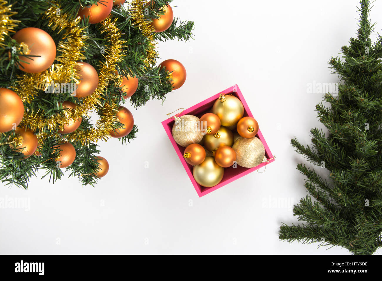 Christmas Tree With Golden Balls Tinsel Garland Box Of Ornaments