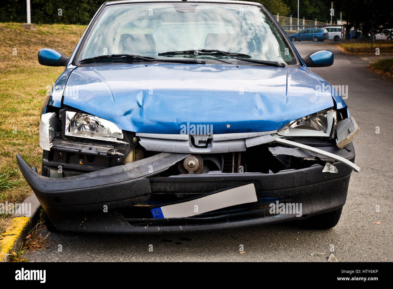crashed car after accident - Stock Image