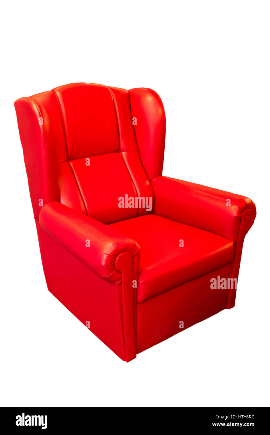red modern armchair isolated - Stock Image
