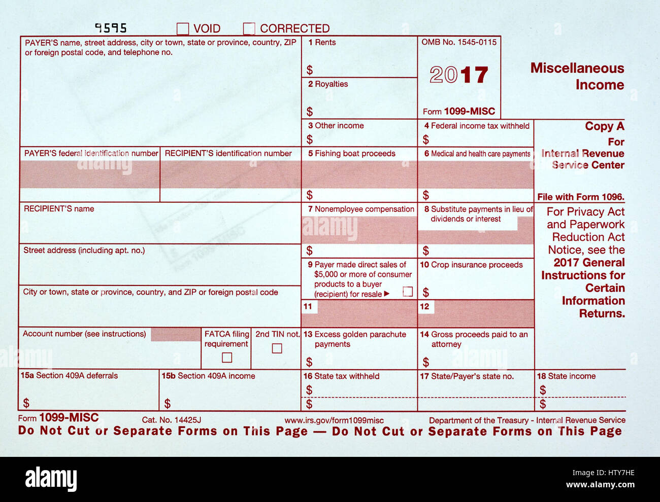 1099 Miscellanious Income Tax Form 1099 Misc Stock Photo 135823002