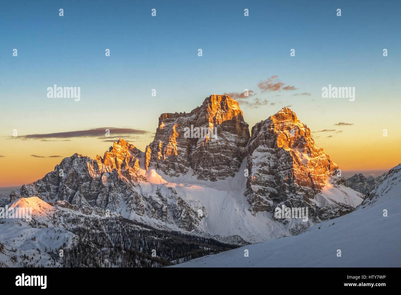 Mt. Pelmo on Mondeval near Cortina d`ampezzo at sunset with Alpenglow - Belluno - Veneto - Italy - Stock Image