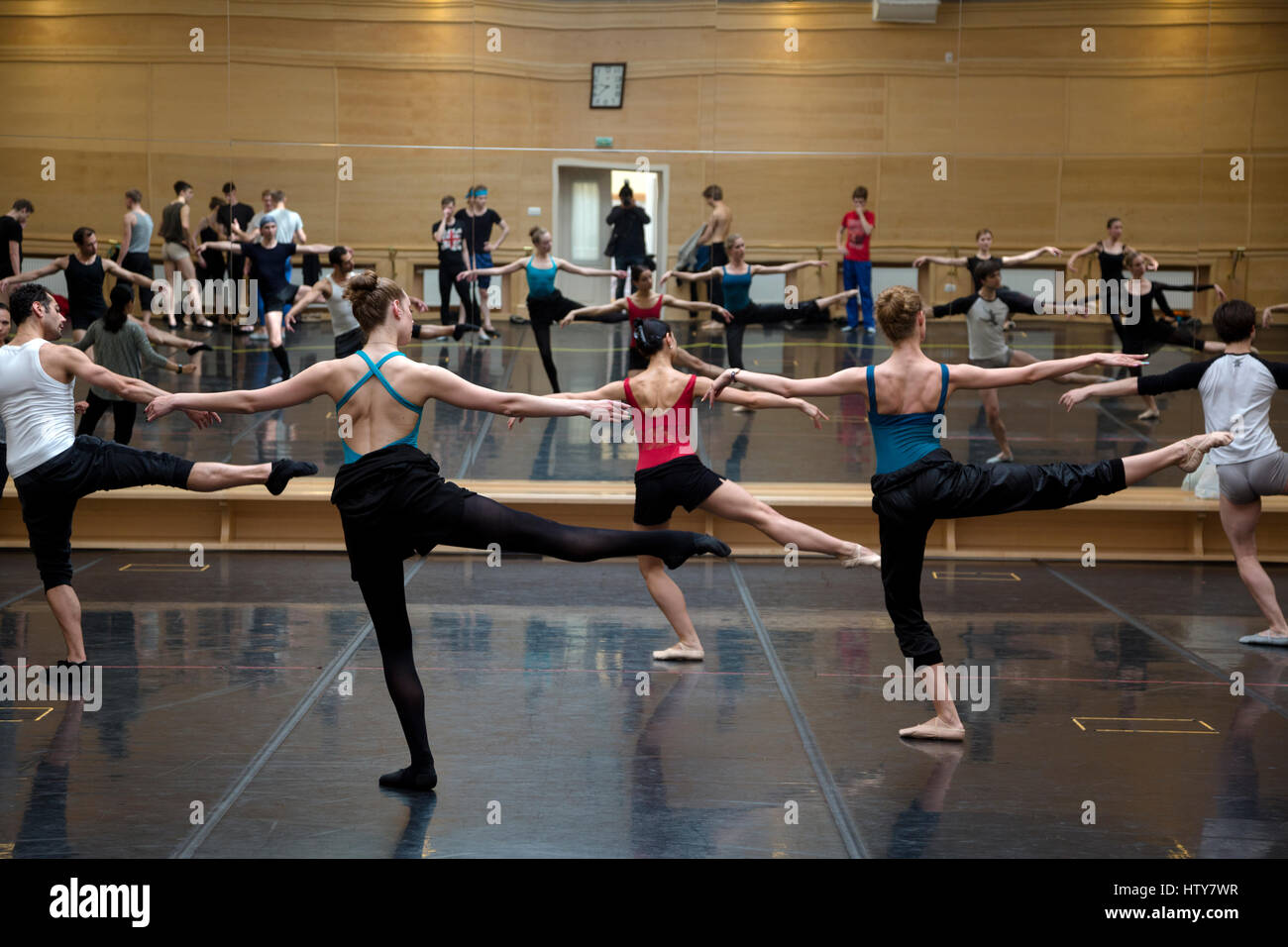 Ballerinas rehearse dance elements in the rehearsal room of the Bolshoi Theater of Russia in Moscow Stock Photo