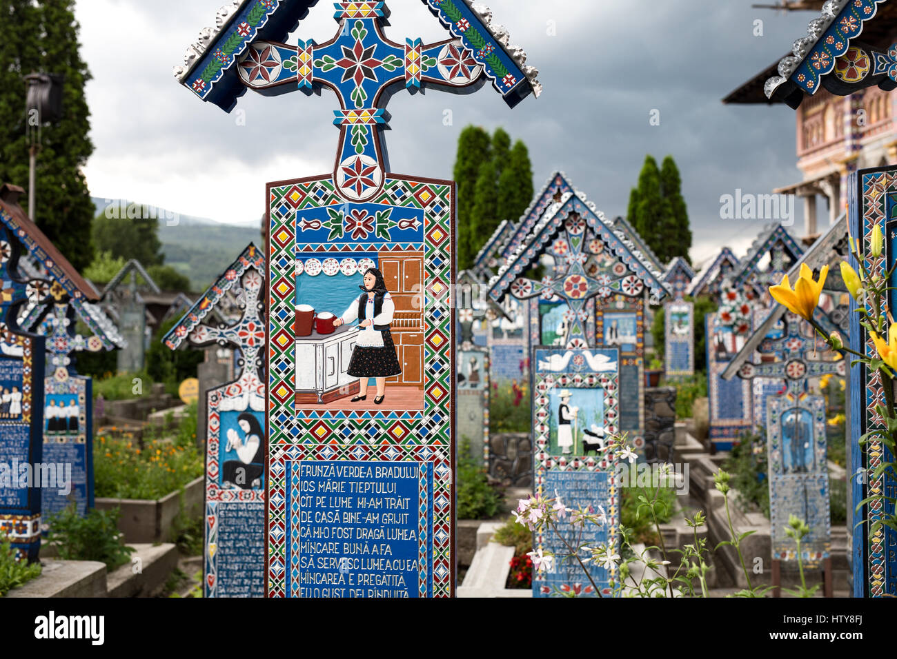 Romania, The Merry Cemetery (Cimitirul Vesel), in Sapanta, Maramures - famous for its colourful tombstones with - Stock Image