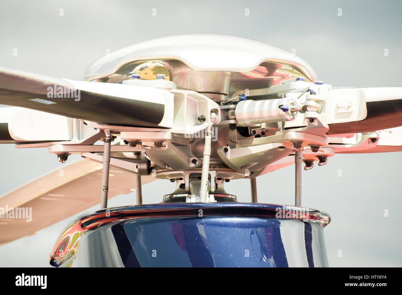 closeup of a complex helicopter rotor blade assembly - Stock Image