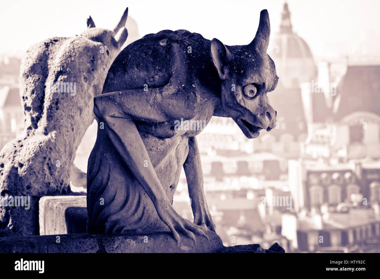 Gargoyle figure. Notre Dame Cathedral. Paris, France, Europe. - Stock Image