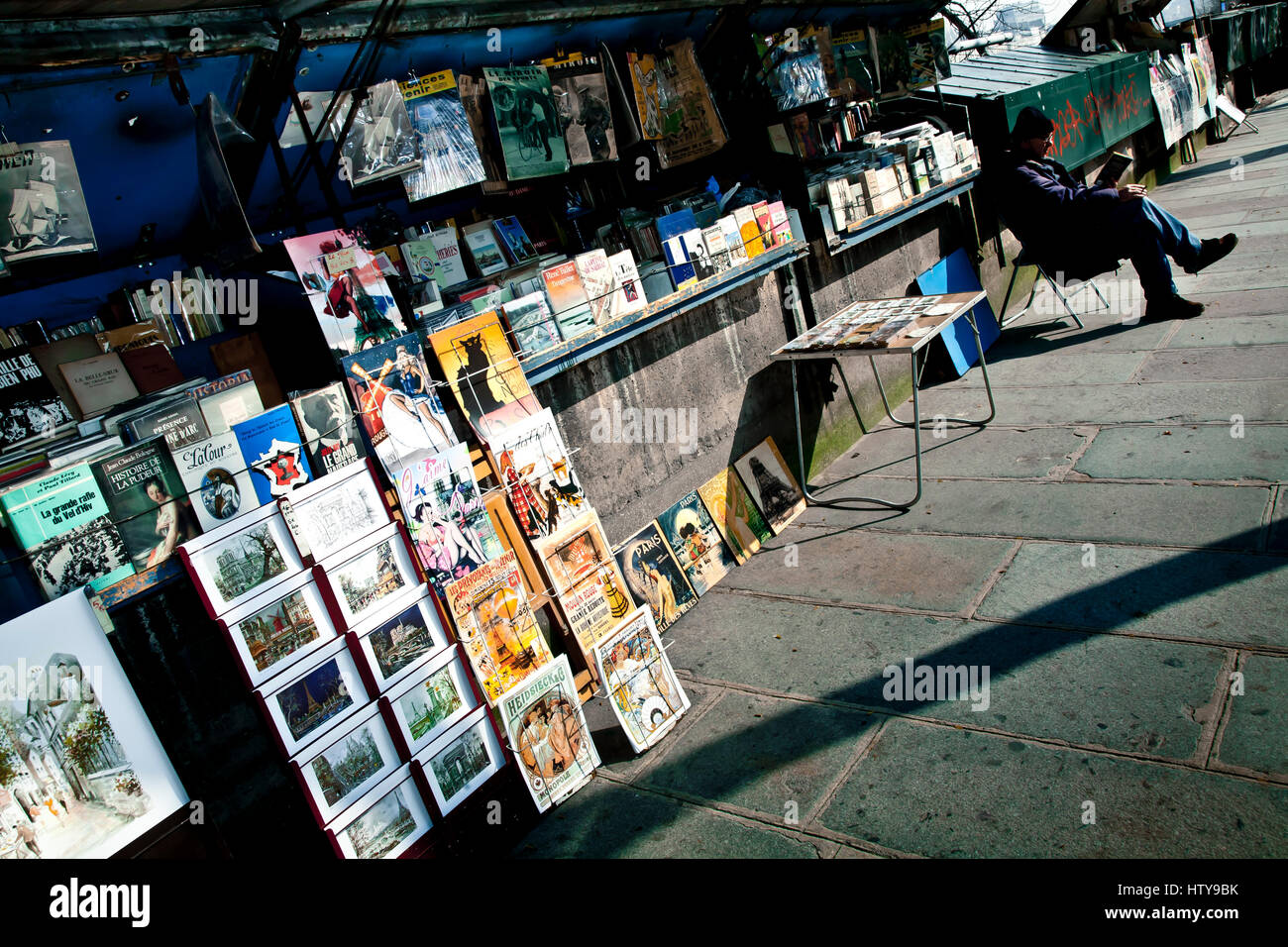 Postcards and souvenirs in a shop. Paris, France, Europe. - Stock Image