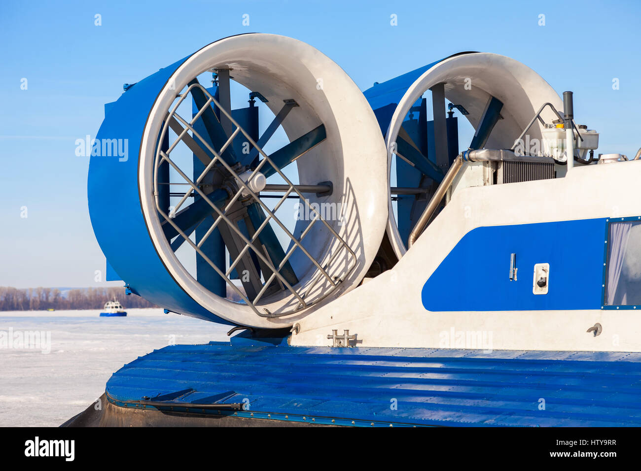 Turbo-prop engine of a naval hovercraft on the ice of the frozen river - Stock Image