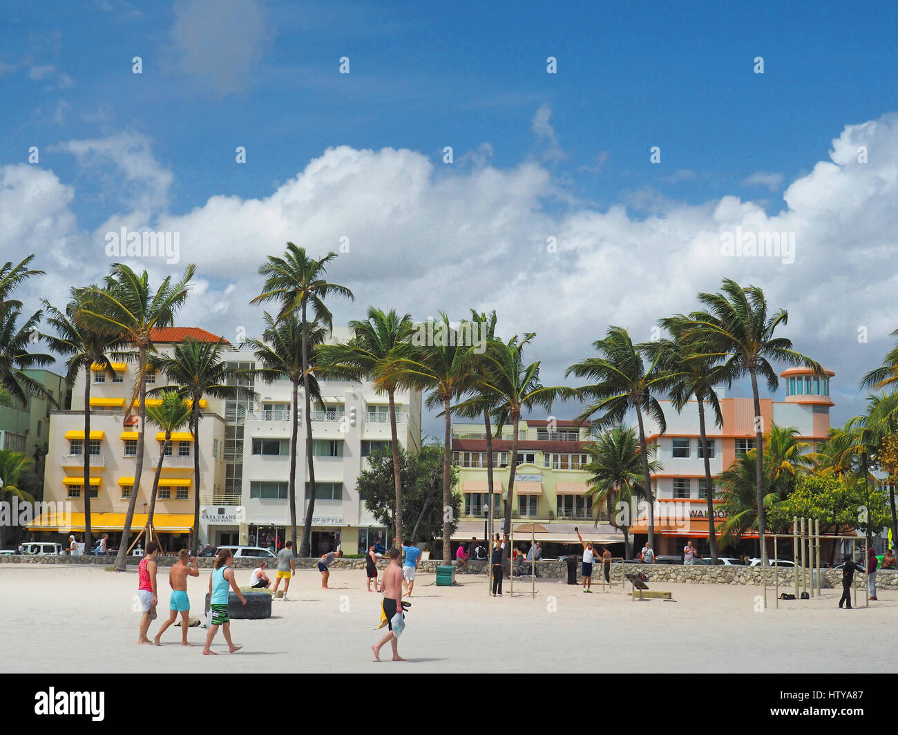 Art Deco District hotels from beach front on South Miami Beach. - Stock Image